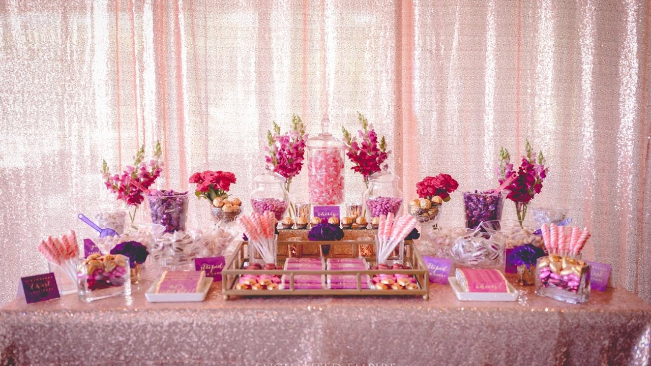Plum Gold Floral Baby Shower Dessert Table Styled By Enchanted