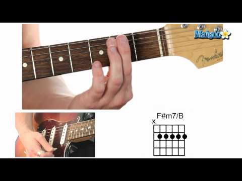 how to play an f sharp minor seven over b (f#m7/b) chord on guitar