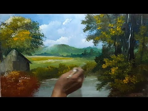 How to Draw Forest Beautiful Lake | Acrylic Landscape Painting Lesson | Step By Step
