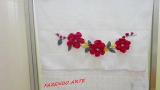 Flores Bordadas com Fitas de Cetim -Segunda Versão – Passo a passo do botão de flor Rococó