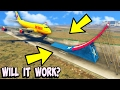 What happens when a Ramp is in front of a Landing Plane in GTA 5?