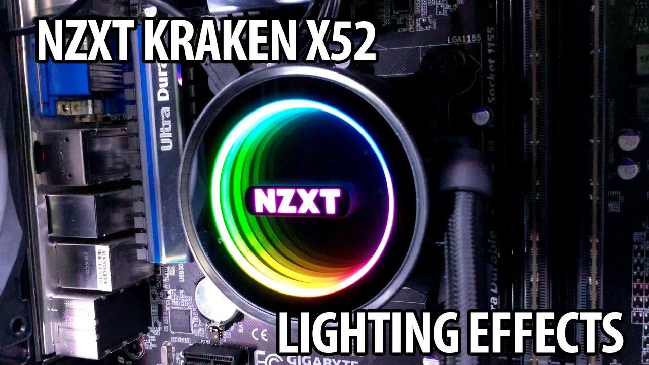 nzxt kraken x52 lighting effects youtube