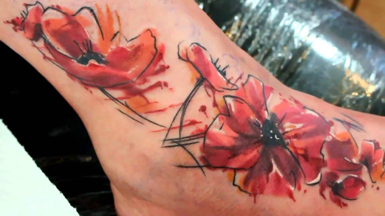 Tatuaz Maki Na Stopie Wykonanie Kosa