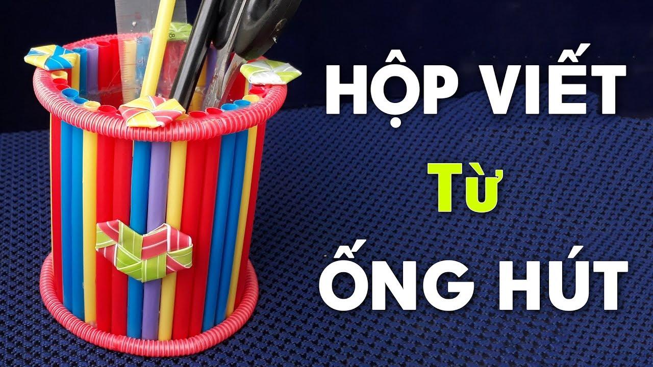 """""""Thật đơn giản"""" Cách làm hộp đựng bút bằng ống hút đơn giản mà dễ thương   DIY Ống Hút"""