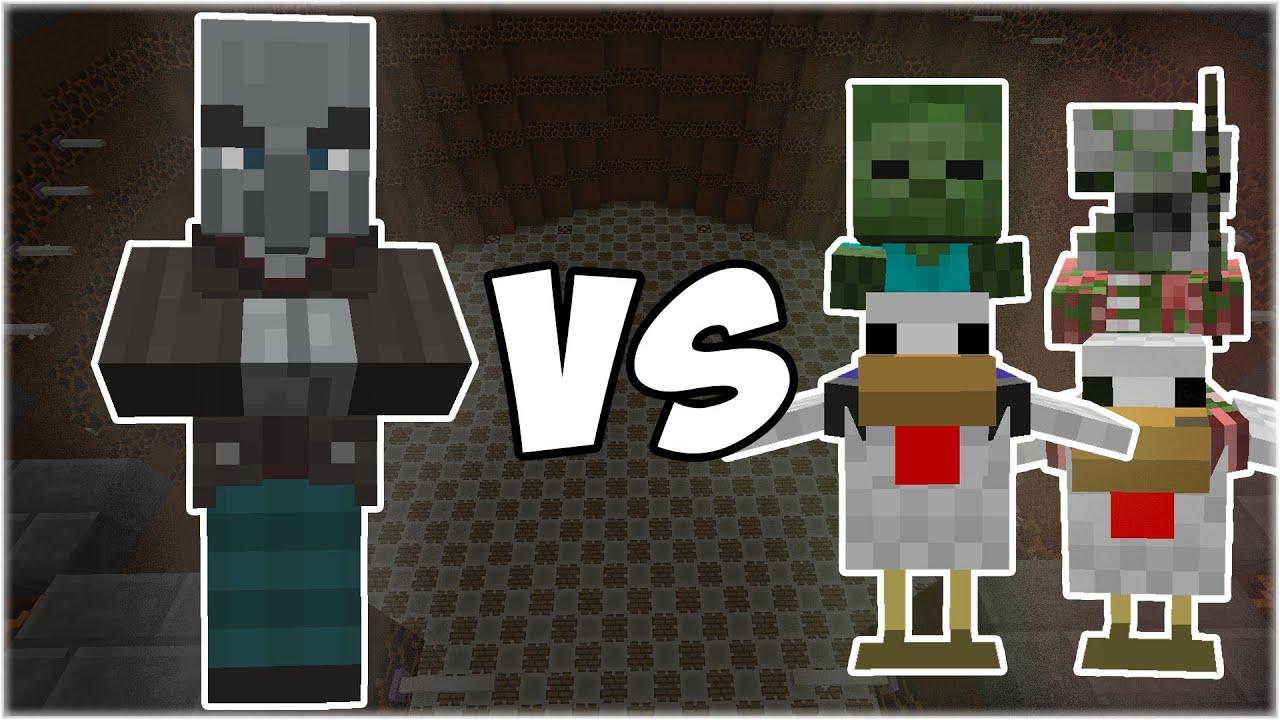 Vindicator vs Chicken Jockeys - Minecraft Mob Battle