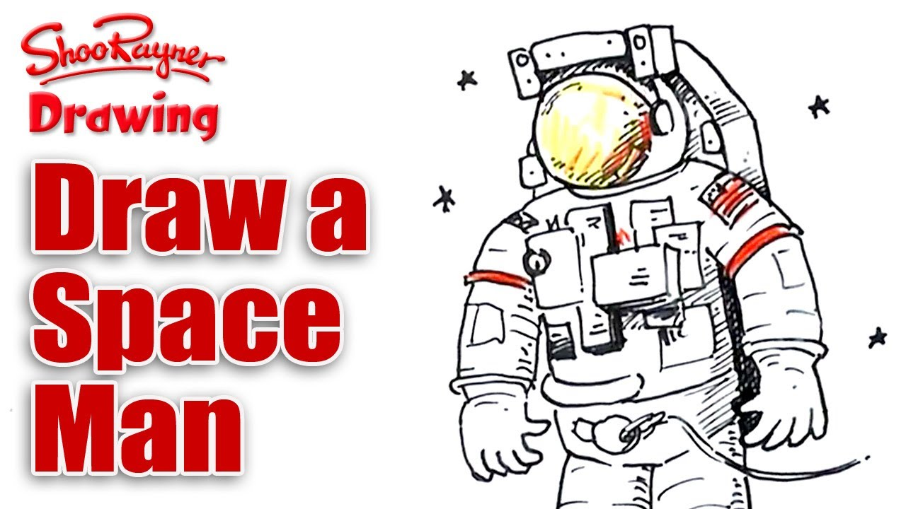 how to draw a space man youtube