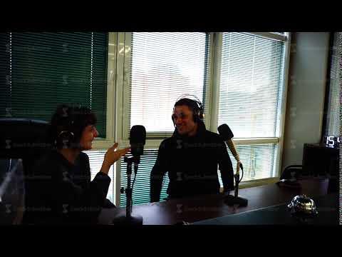 UKRAINE, KIEV - FEBRUARY 10, 2017: two people in radio show talking in studio