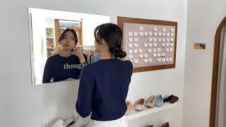 여자봄코디 네이비가디건 화이트팬츠 | 사색 쇼핑몰 촬영…