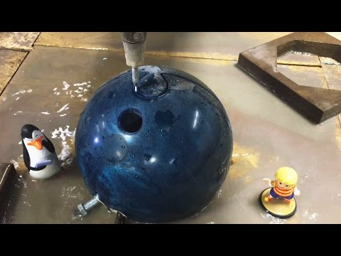 Bowling Ball vs a 60,000 PSI Waterjet