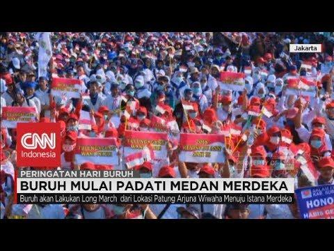 May Day 2018, Buruh Mulai Padati Jalan Medan Merdeka Jakarta