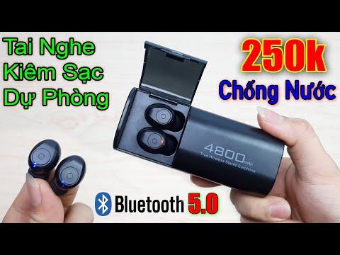 Test và Bung Tai Nghe Bluetooth 5.0 Giá Rẻ Kiêm Sạc Dự Phòng 4800mAh đáng mua nhất 2020