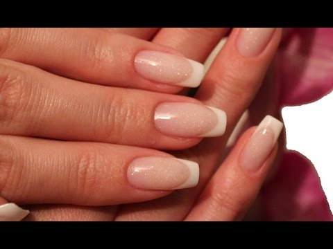 White French Tip Gel Nails With Pink