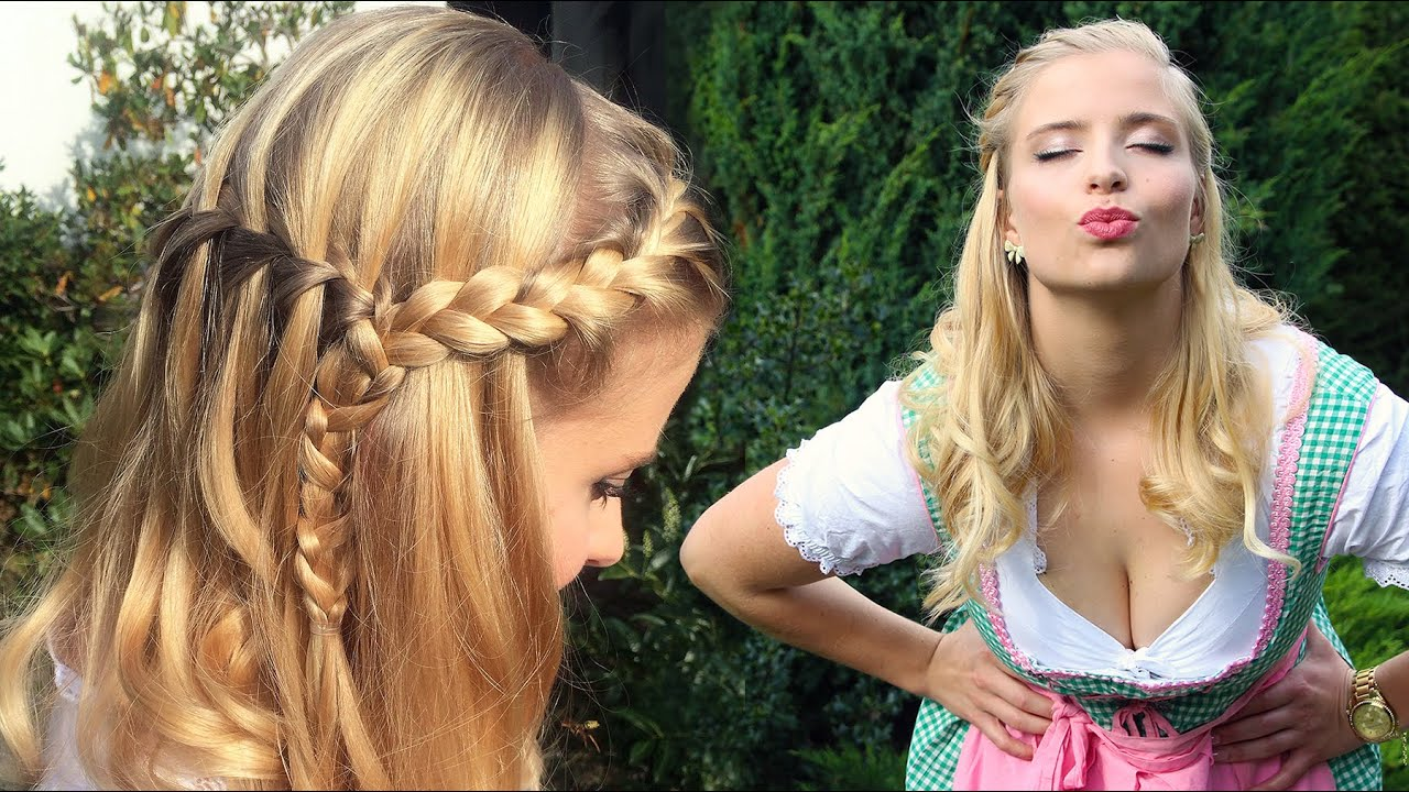 OKTOBERFEST - Frisur, Makeup & Dirndl - Perfekter Wiesn Look - YouTube
