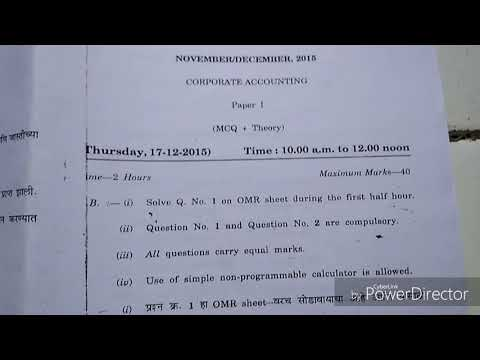CORPORATE ACCOUNTING Paper I B Com SY (3rd Sem ) November