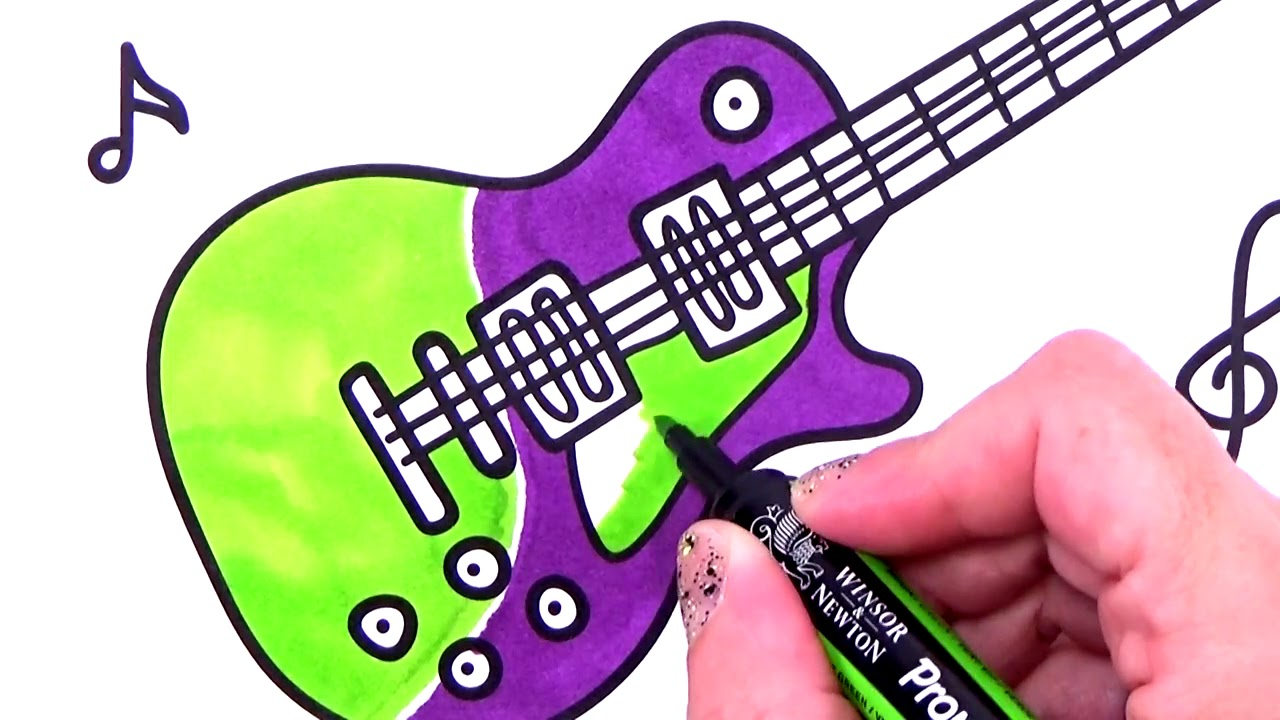 How to Draw electric guitar. Coloring Pages. Art drawing creativity ...