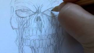 How To Draw A Bleeding Skull