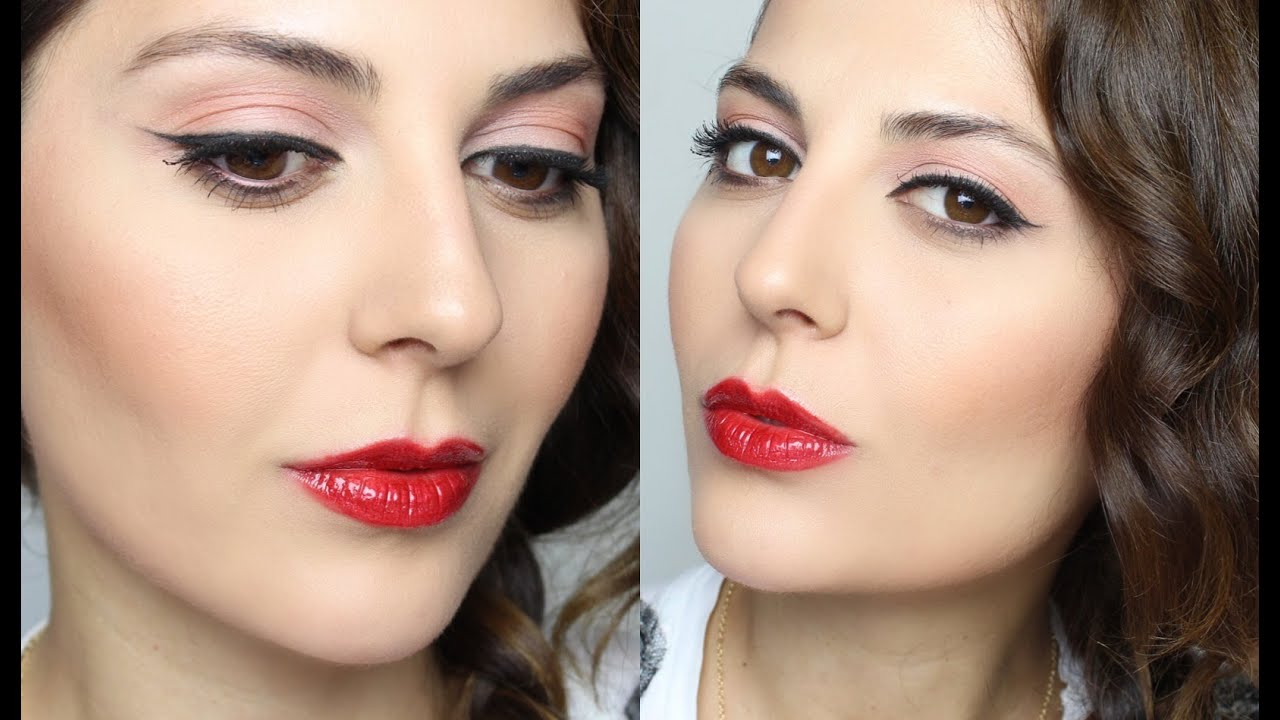 Cat eye lips red makeup pictures