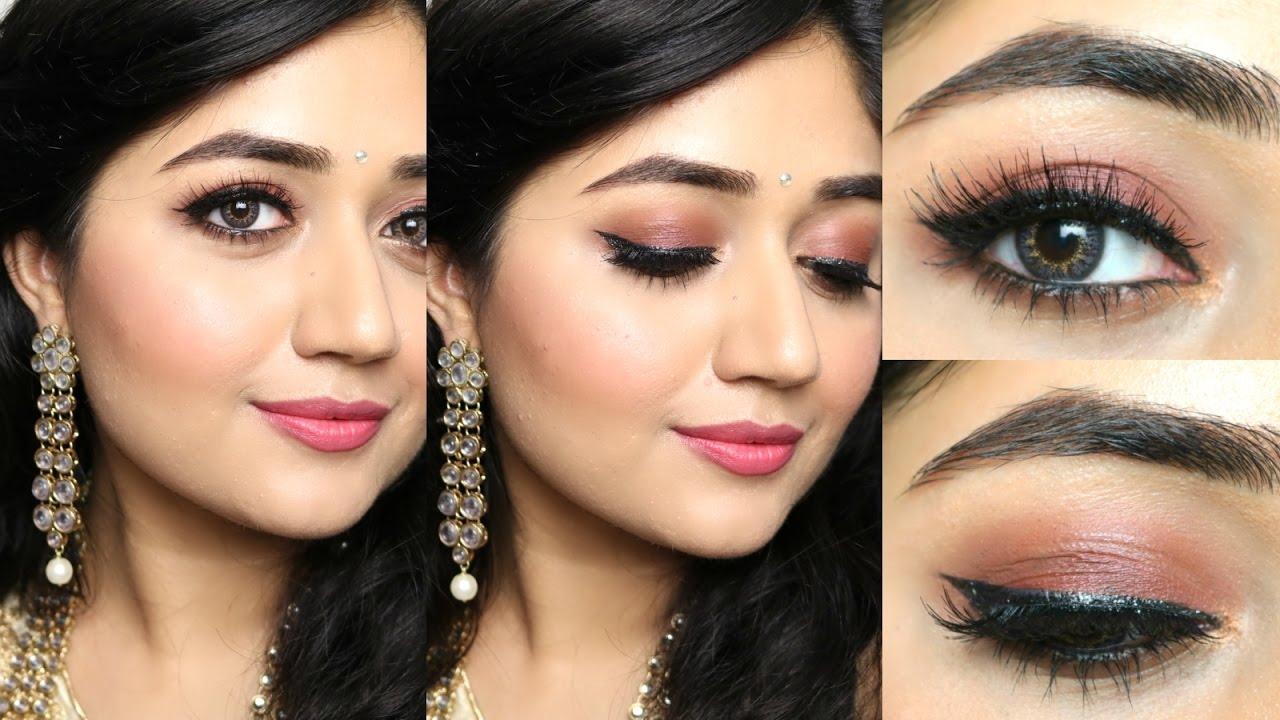 Pink Brown Eyeshadow Indian Makeup Tutorial : Natural Rosy Brown Makeup