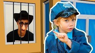 Alena and Pasha pretend play police