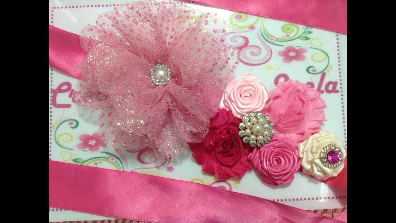 3e2e835c9 Cintillo de flores para embarazadas VIDEO No. 234. Creaciones Rosa Isela