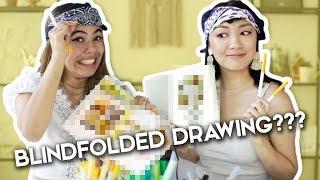 BLINDFOLDED DRAWING CHALLENGE! ft. Adelaine Morin!