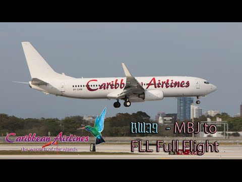 Caribbean Airlines B737-800 Flight BW39 Montego Bay to Ft. Lauderdale Full Flight (uncut)