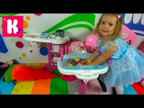 Набор для куклы с ванной / Распаковка большого набора Baby Nurse