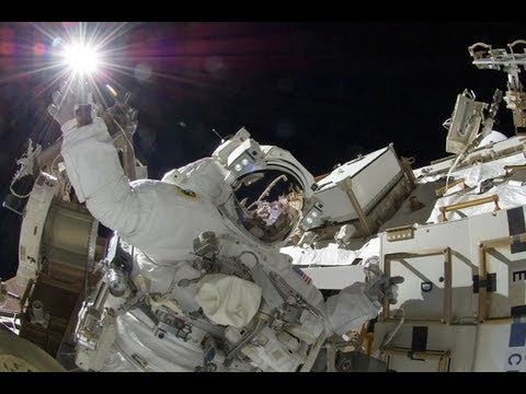 Astronauts 'space walk' outside the International Space Station