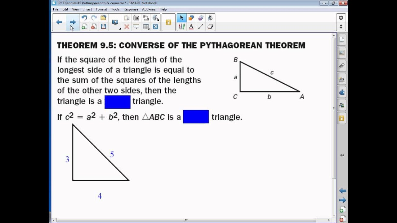 8 1 Pythagorean Theorem & its Converse - YouTube