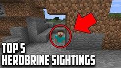TOP 5 REAL HEROBRINE SIGHTINGS IN MINECRAFT (Scariest Minecraft Herobrine Sightings)