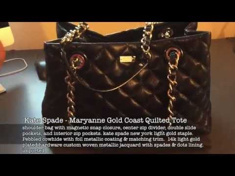 Kate Spade Black Maryanne Gold Coast Quilted Tote Like New Youtube