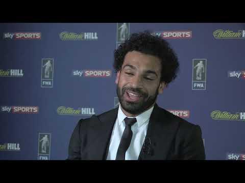 Mo Salah  collects FWA Footballer of the Year award