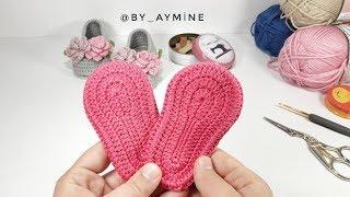 BEBEK PATİK TABAN YAPIMI 0-3 AY, Very Easy Tutorial For Crochet Booties Sole