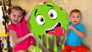 Eva and Vova make a Giant slime with Eva Surprise