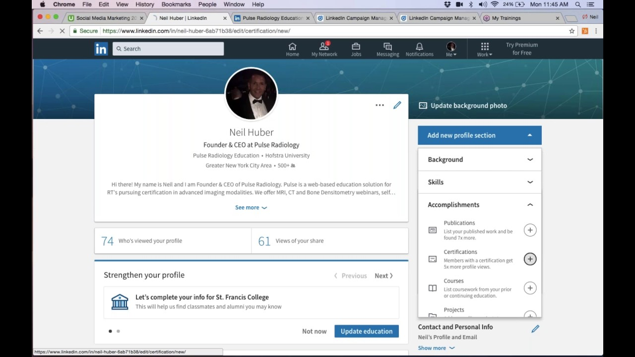 Adding Certificate To Linkedin Profile Youtube