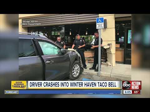 Florida Front Row - Car Crashes Through Florida Taco Bell