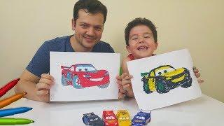 Disney Cars 3 Marker Challenge with Yusuf and Father | Eğlenceli Çocuk Videoları
