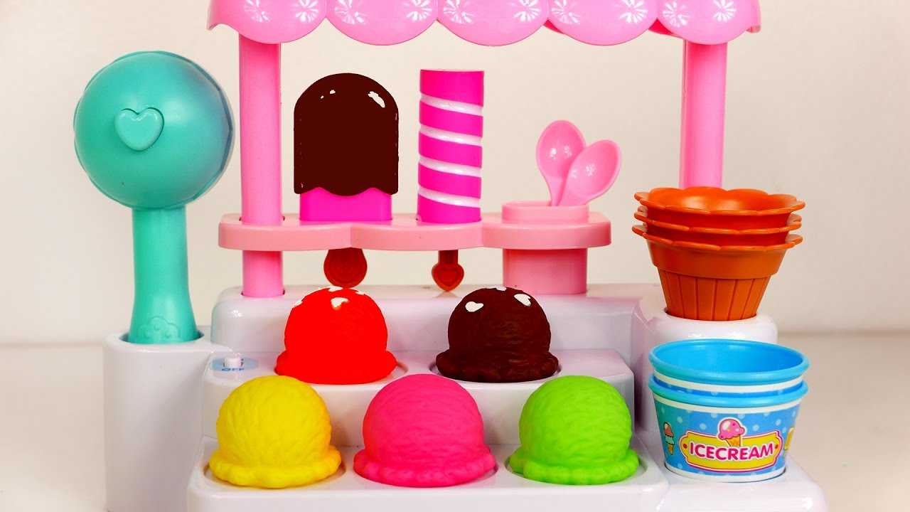 Ice Cream Cones and Popsicles Stand Playset for Kids
