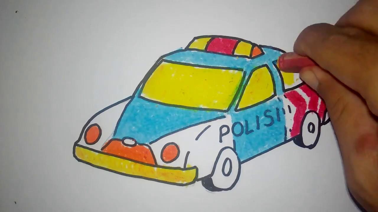 Contoh gambar mobil untuk anak TK polisi