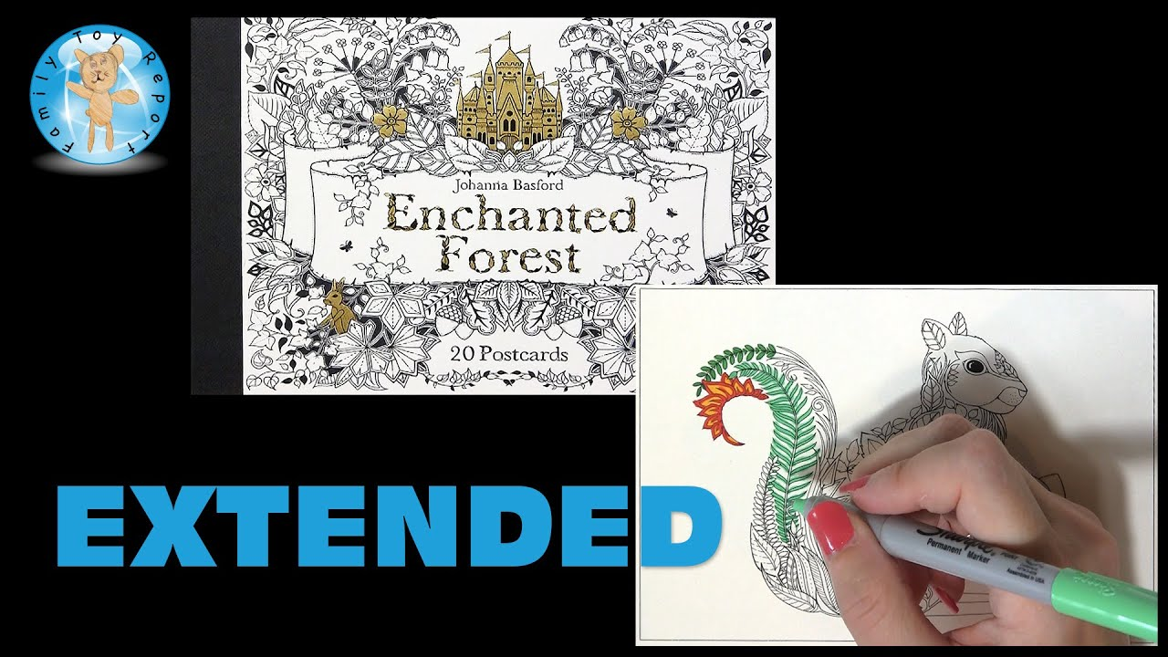 Enchanted Forest Johanna Basford Adult Coloring Book Postcards Squirrel Extended