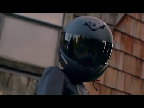 Actress Jaime Ray Newman in Motorcycle Gear