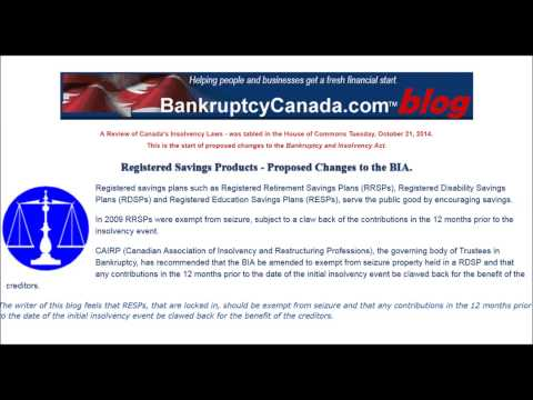 Registered Savings Products - Proposed Changes to the Bankruptcy and Insolvency Act.