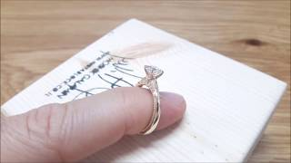 Solitaire Moissanite Promise Ring 14K Yellow Gold Engagement Ring