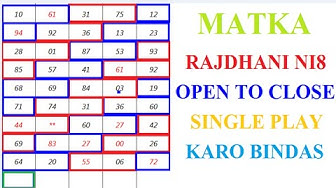 Matka Rajdhani Night 30-03-2020 Raj Night Single Open To Close Fix Jodi सत्त मटका राजधनी रात