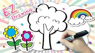 ★DRAW Flowers,tree,Rainbow★Mixed#3✿Very Easy&Coloring★Tutorial For kids & Beginner✿Coloring pages★