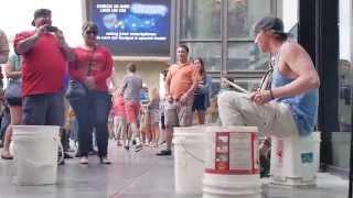 Las Vegas street performer, sick drum skills