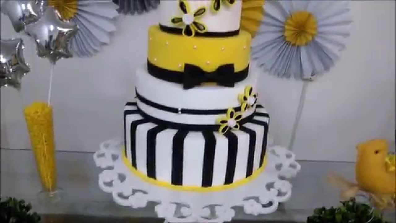 Aniversário da afilhada  decoração amarelo e preto  YouTube