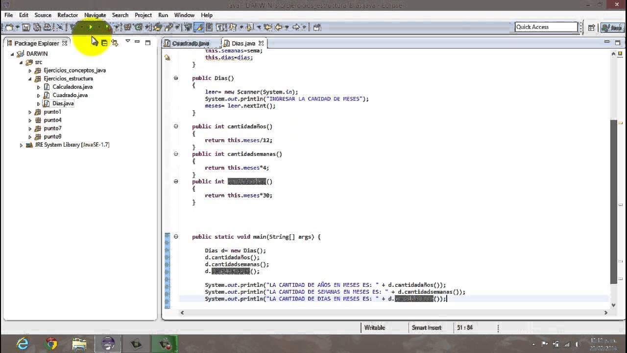 Ejercicios Estructuras Java Eclipse Parte I Youtube