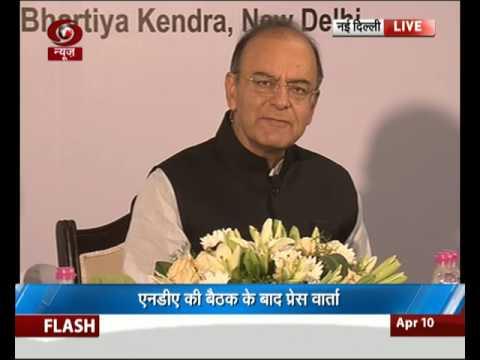 FM Arun Jaitley addresses media after NDA Meet