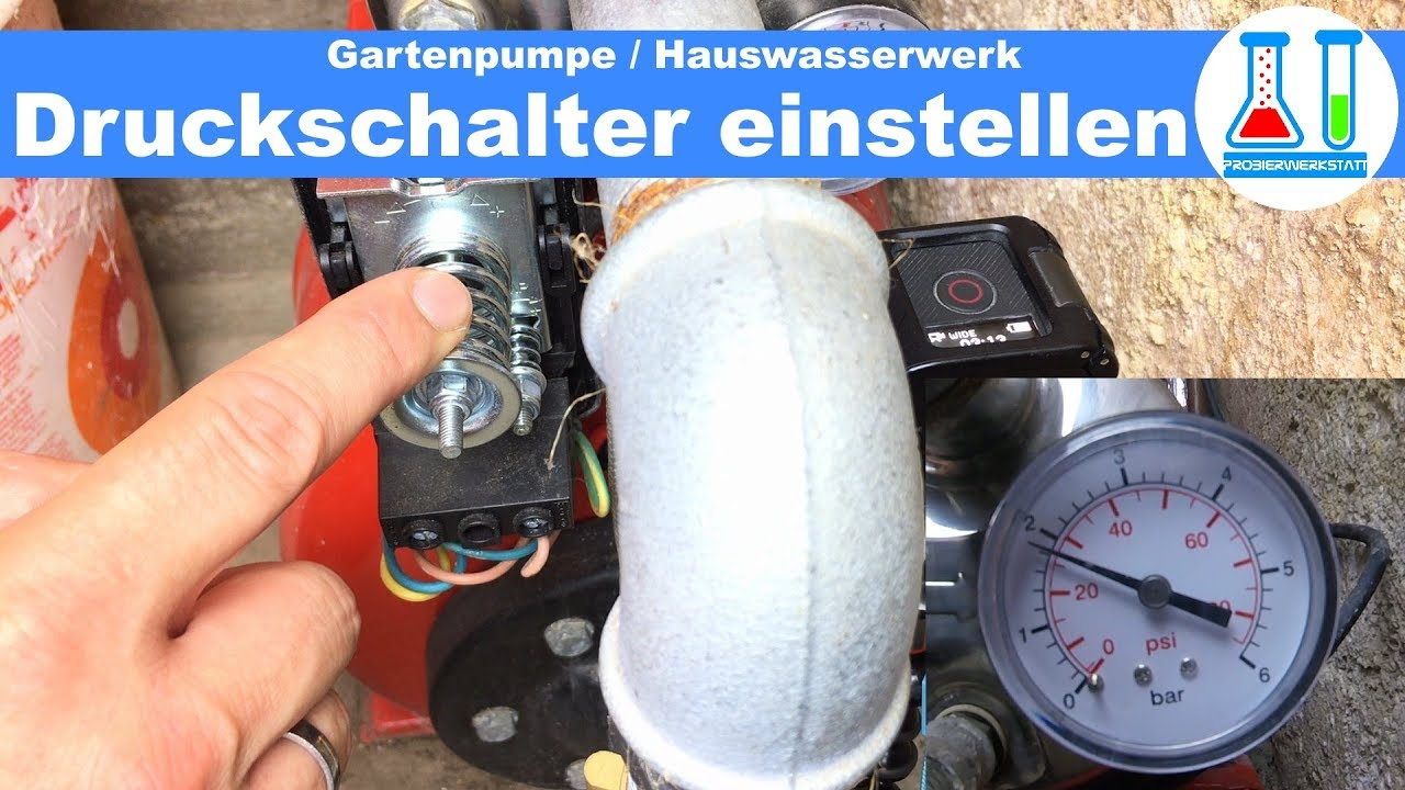Relativ Gartenpumpe / Hauswasserwerk Druckschalter einstellen / Anleitung HY75